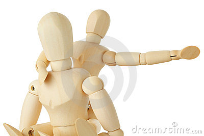 Wooden figures of child sitting on back of parent