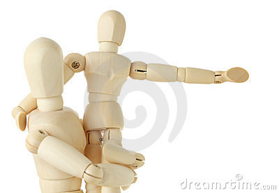 Wooden figures of child sitting on hands of parent