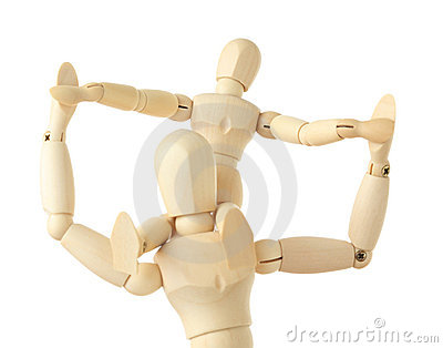 Wooden figures of child sitting on neck of parent