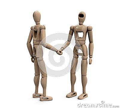 Wooden figures handshake