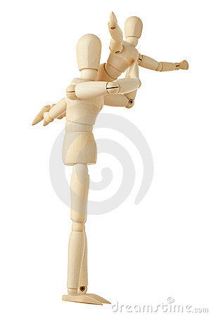 Wooden figures parent holding child on hands