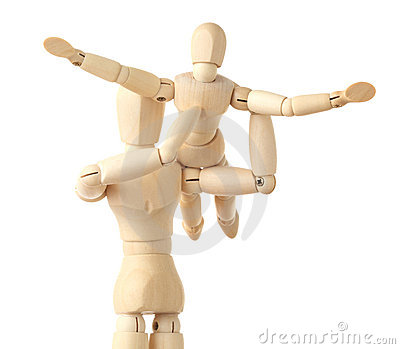 Wooden figures parent holding his child on hands