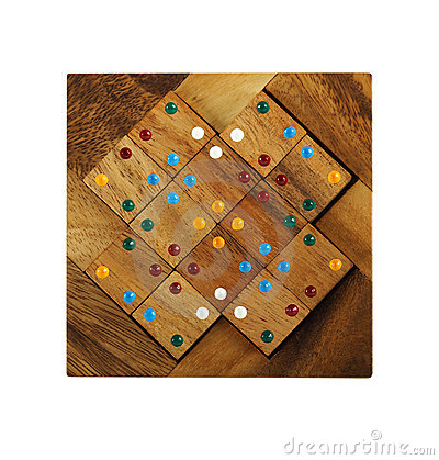 Free Wooden Figures With Color Dots Assemble In Puzzle Stock Images - 16674854