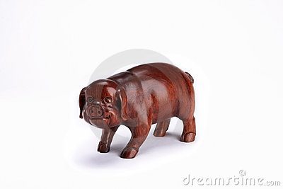 Wooden figurine of a pig