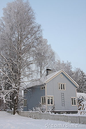 Wooden Finnish house in winter