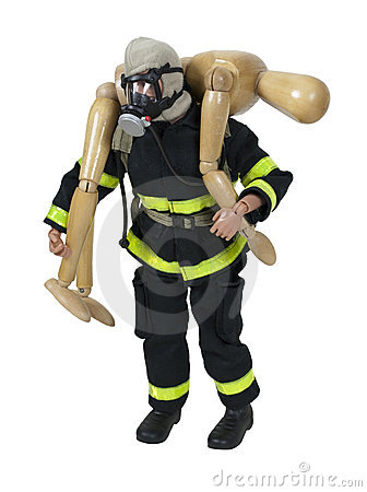 Wooden Fireman Carrying a Person to Safety