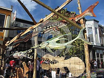 Wooden Fish Display Editorial Image