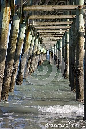 Wooden fishing pier underside