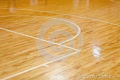 Wooden Floor of Basketball Court Stock Photo