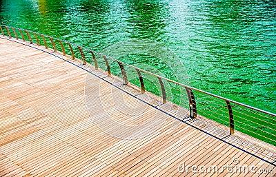Wooden floor on the riverbank