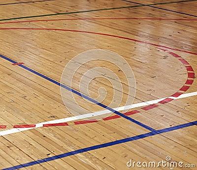 Wooden floor of sports hall