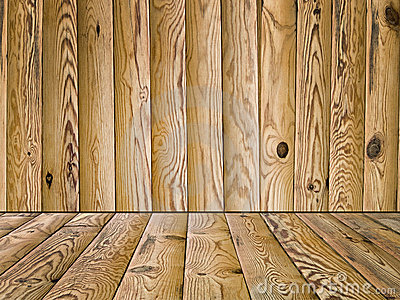 Wooden floor and wall