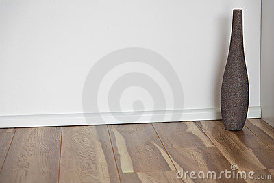 Wooden Floor With White Wall And Vase Royalty Free Stock Photo - Image: 19125055