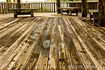 Wooden floor in wide angle