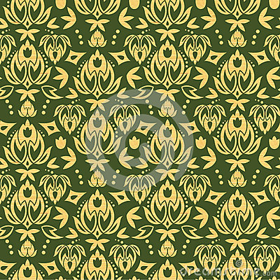Wooden floral damask seamless pattern background