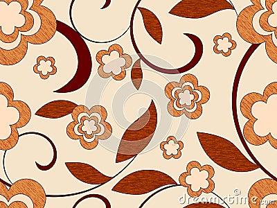 Wooden flowers seamless pattern