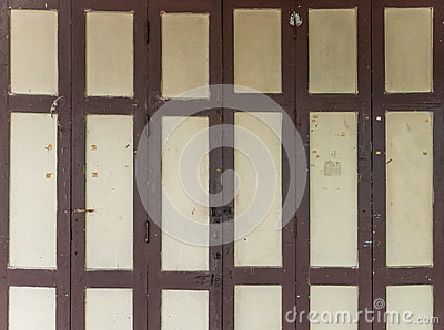 Wooden folding door. Stock Photo