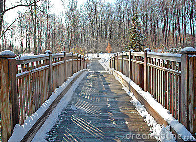 Wooden Foot Bridge After Snow