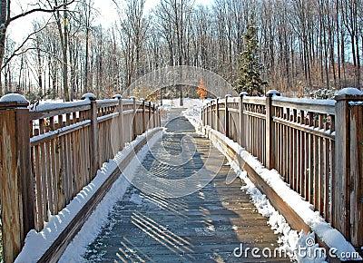 Wooden Foot Bridge After Snow
