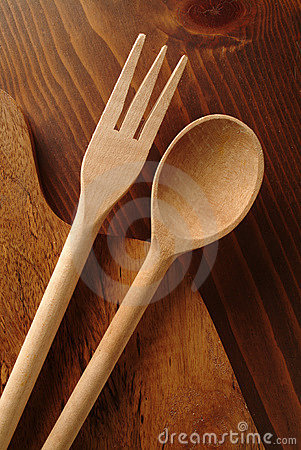Free Wooden Fork And Spoon Royalty Free Stock Photography - 358677