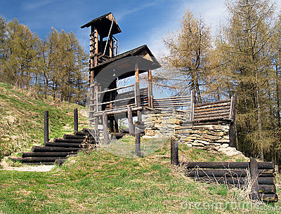 Wooden fortification on Havranok hill, Slovakia