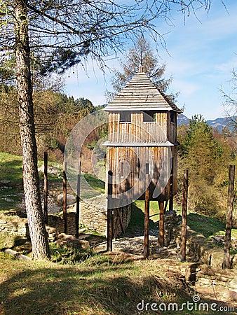 Wooden fortification tower in Havranok