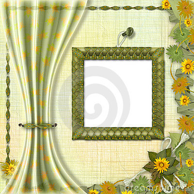Wooden frame on the abstract background