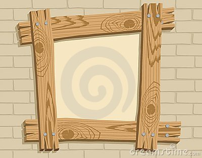 Wooden frame against a backdrop of brickwall