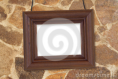 Wooden frame against the wall