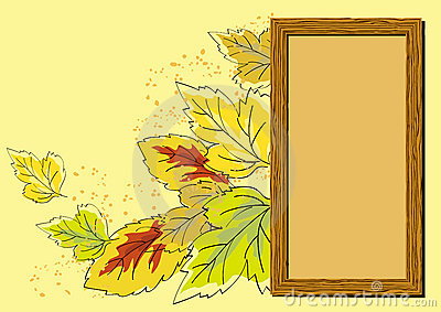 Wooden frame and autumn leaves