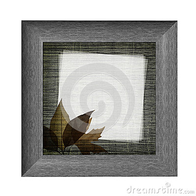 Wooden frame with autumn leaves
