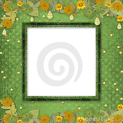 Wooden frame with bunch of flowers and streamers