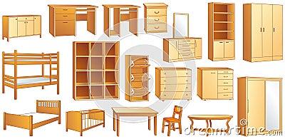 Wooden furniture set vector illustration