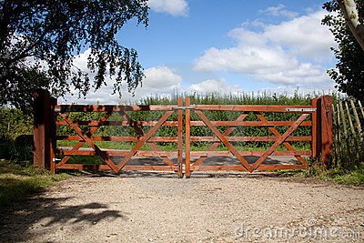 Wooden gate in countryside