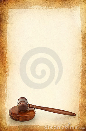 Wooden gavel against old dirty background