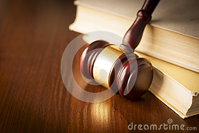 Wooden gavel in a courtroom