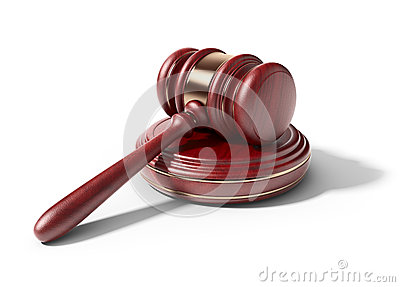 Wooden gavel. LAW concept. 3D Icon