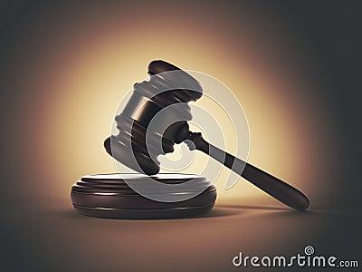 Wooden gavel. LAW concept. 3D illustration