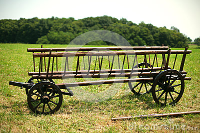 Wooden hay wagon for agricultural use on the farm