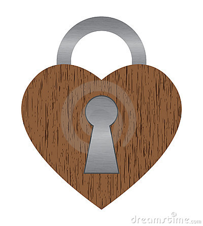Wooden heart lock