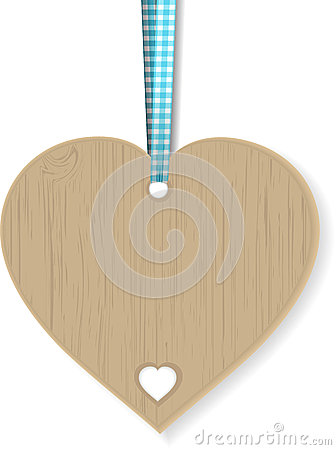 Wooden heart and ribbon