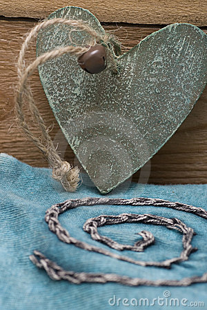 Wooden heart in turquoise