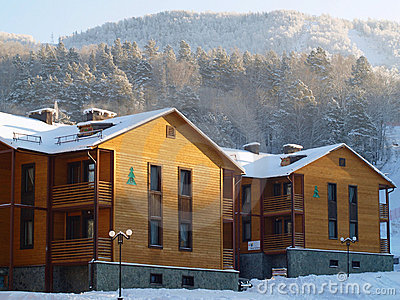 Wooden hotel in the mountains