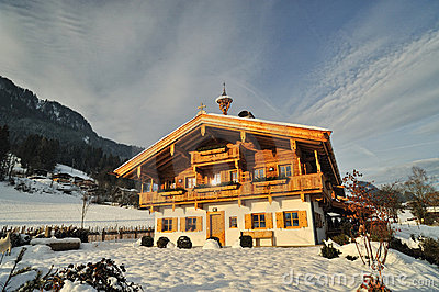 Wooden house in Alpes. Chalet for tourists