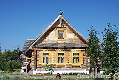 Wooden house with decorative elements