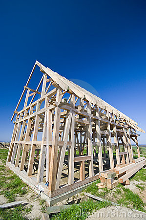Wooden house frame