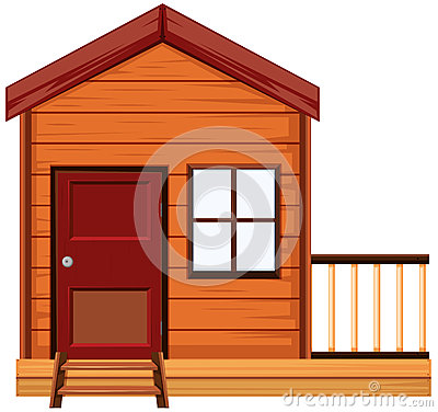 Wooden house with one door and one window
