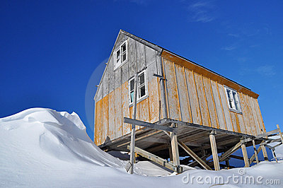 Wooden house in winter, Greenland