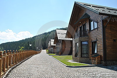 Wooden houses in the mountains