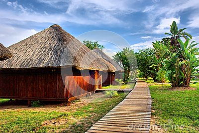 Wooden houses in tropical lodge park